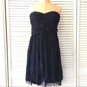 Black Strapless Dress Medium Lace High Low Ruched